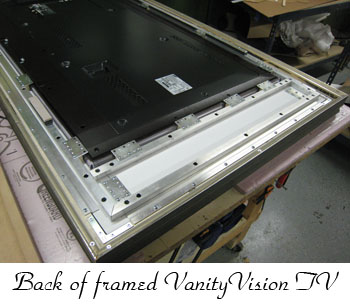 back of framed vanity tv